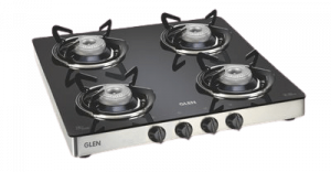 GLEN GL1043 Auto Ignition 4 Burner Kitchen Glass Gas Stove with Stainless steel drip tray