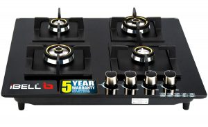 iBELL 4SQUARE HOB 4 Burner Glass Top Gas Stove with Auto Ignition