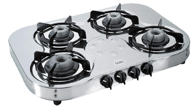 Glen 4 Brass Burners Stainless Steel Gas Stove 1045 High Flame, Silver