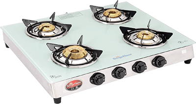 SURYA FLAME White Pearl Glasstop Stainless Steel 4 Burners Auto Ignition Gas Stove, Silver