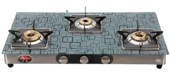 Surya Flame 3Burner Ultra Glasstop Stainless Steel Frame Body Manual Ignition ISI Mark Gas Stove