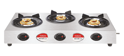 Vidiem GS S3 195 A Vector Plus 3 Stainless Steel Burner Gas Stove (Silver)
