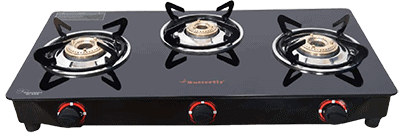 Butterfly Smart Glass 3 Burner Gas Stove
